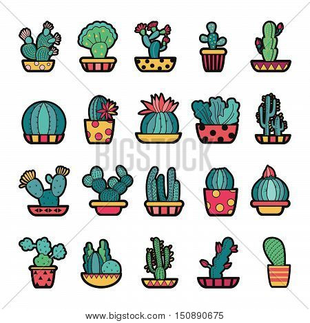 Set of Fashion patch badges with cute succulents and cactus in pot. Perfect design for stickers pins embroidery patches. Vector illustration isolated on white background.