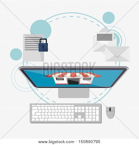Computer and padlock icon. Security system warning and protection theme. Colorful design. Vector illustration
