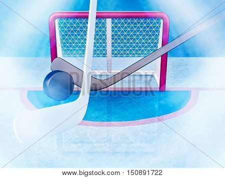 Ice hockey. Hockey sticks and puck against the background of hockey gate. 3D illustration