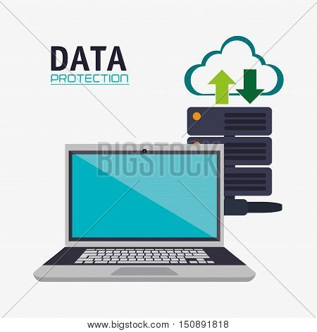 Laptop and cloud icon. Security system warning and protection theme. Colorful design. Vector illustration