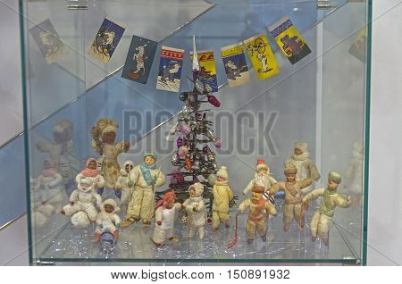 KLIN RUSSIA - JANUARY 16 2016: Museum of Christmas toys. Old Soviet Christmas toys. The pupae of wool and papier-mâché.