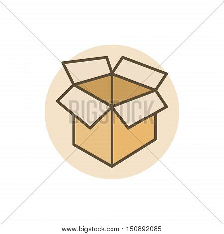 Carton box colorful icon. Vector box and package flat sign or symbol