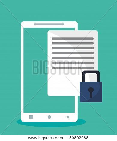 Smartphone padlock and document icon. Security system warning and protection theme. Colorful design. Vector illustration