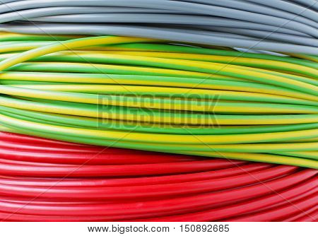 Multi Color Electric Cable Coil Close up