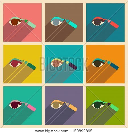 Modern flat icons vector collection with shadow Eyeliner pencil