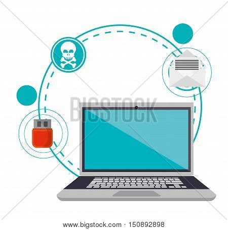 Laptop icon. Security system warning and protection theme. Colorful design. Vector illustration