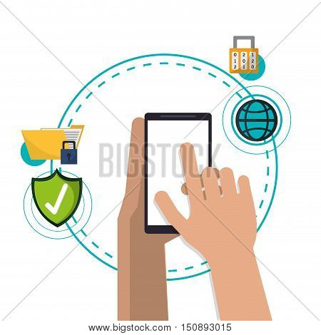 Smartphone padlock file global and shield icon. Security system warning and protection theme. Colorful design. Vector illustration