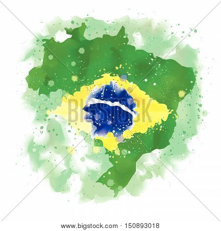 vector map of Brazil Water color paint