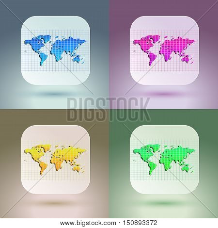 Flat map icon for application on soft background. Vector eps 10 illustration.