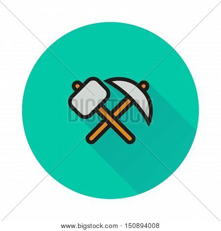 pick-axe and hammer icon on round background Created For Mobile Infographics Web Decor Print Products Applications. Icon isolated. Vector illustration