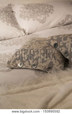 Some luxury pillows in a luxury  bedroom