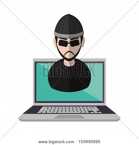 Hacker cartoon and laptop icon. Security system warning and protection theme. Colorful design. Vector illustration