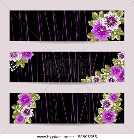 Set of horizontal banners. Beautiful compositions with mallows on black background.