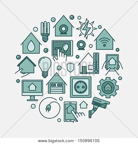 Smart house concept sign. Vector colorful round home automation creative symbol