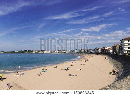 Landscape of Saint-Jean-de-Luz, France. Panoramic of luxury French balneological resort Saint Jean de Luz, Aquitaine.