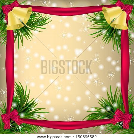 Golden Christmas and New Year Greeting card with frame snowflakes bows ribbon and jingle bells