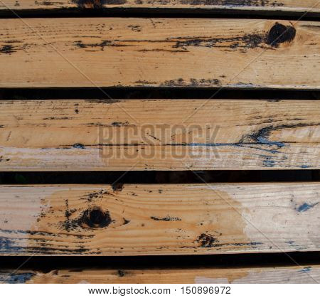 old wet nailed plank floors with spaces with yellow wooden article