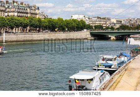 Seine River flowing through the centre of Paris, France