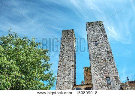 world famous San Gimignano towers in Tuscany Italy
