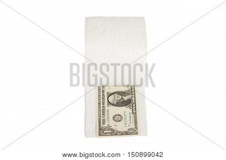 One dollars in toilet paper isolated on white