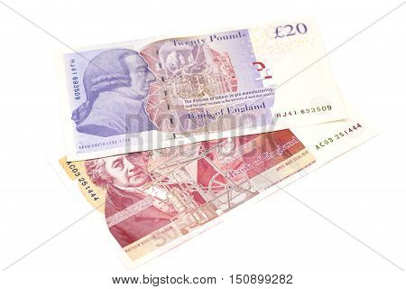 pound sterling banknotes isolated pn white background