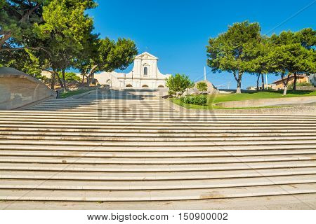 a stairway to Bonaria cathedral in Cagliari