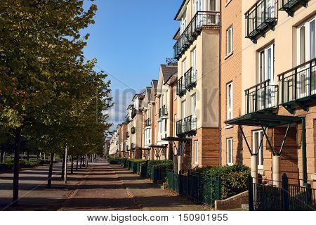 Modern new terraced houses and apartment flats in Cardiff, Wales, UK