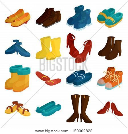 Shoes icons set. Cartoon illustration of 16 shoes vector icons for web