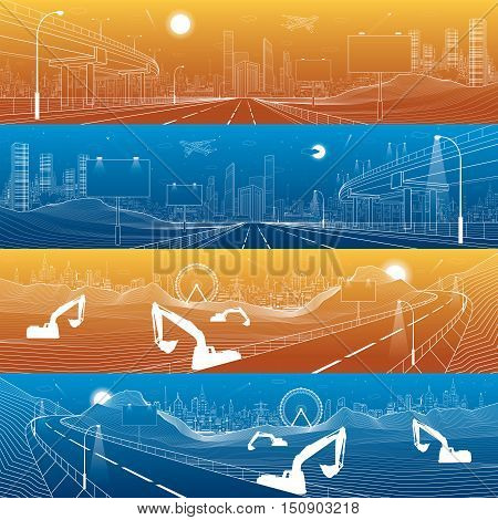 Automotive flyover, infrastructure panorama, transport overpass, billboards on highway, business center, day and night city, towers and skyscrapers, white lines urban scene, vector design art