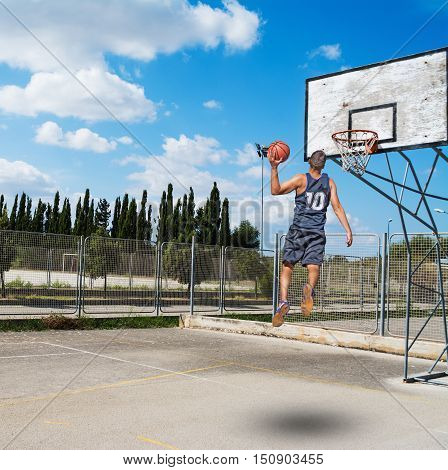 a slam dunk in a basketball playground