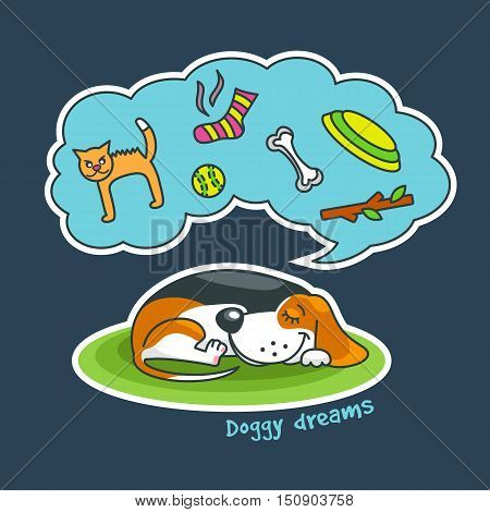 Sweet Cartoon Dog Sleeping And Dreaming About His Favourite Things: Cat, Ball, Sock, Bone, Frisbee.