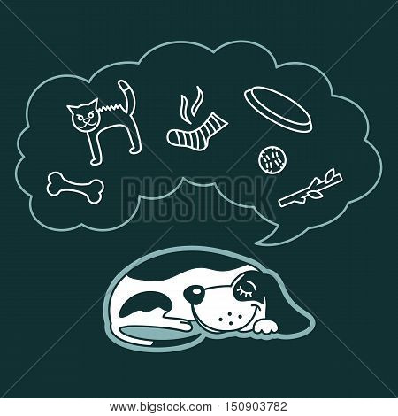 Sweet Cartoon Dog Sleeps And Dreams About His Favorite Toys: Cat, Ball, Sock, Bone, Frisbee. Vector