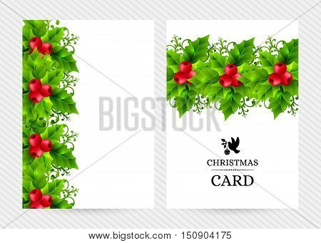 Christmas banners with holly leaves, red holly berries and ornamental snowflakes. Winter holiday backgrounds with decorations and greeting text. Vertical vector illustration.