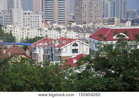 The city of Qingdao China located in Shandong province on a sunny day.