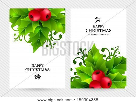 Christmas background with holly leaves, red holly berries and ornamental snowflakes. Winter holiday poster with decorations and greeting text. Vector illustration.