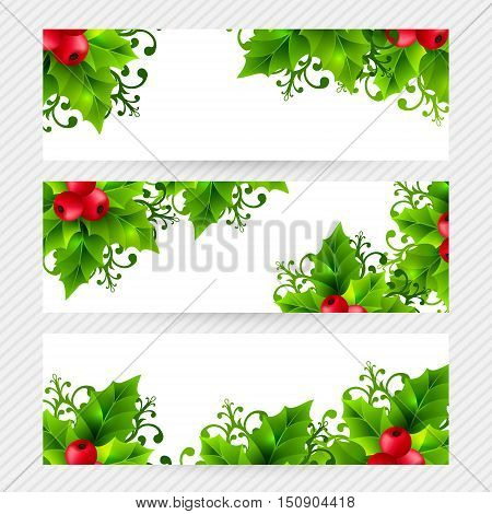 Christmas banners with holly leaves, red holly berries and ornamental snowflakes. Winter holiday backgrounds with decorations and greeting text. Horizontal vector illustration.