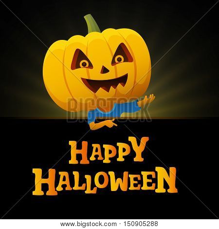 Halloween party black background. Man with a pumpkin head vector flat illustration. Funny halloween personage.