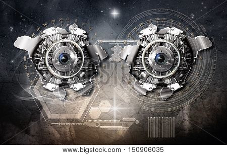 Cosmic scale gravitational generator in action 3D illustration