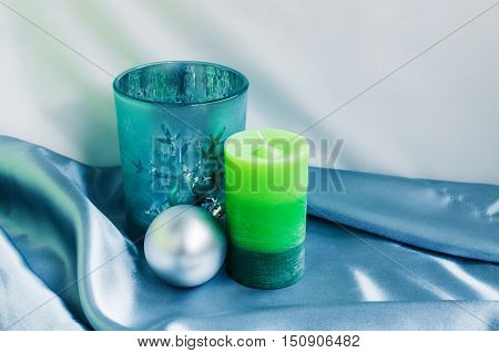 Decoration for New Year and Cristmas. Candle and xmas balls