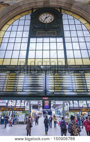 Sao Bento Railway Station In Porto, Portugal