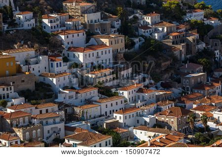 Top view of houses Hydra island, Greece.