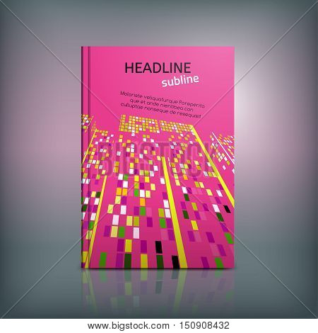 Vector business brochure cover template. Modern background for poster, print, flyer, book, booklet, brochure and leaflet design. Editable graphic collection in red, pink, orange and black colors