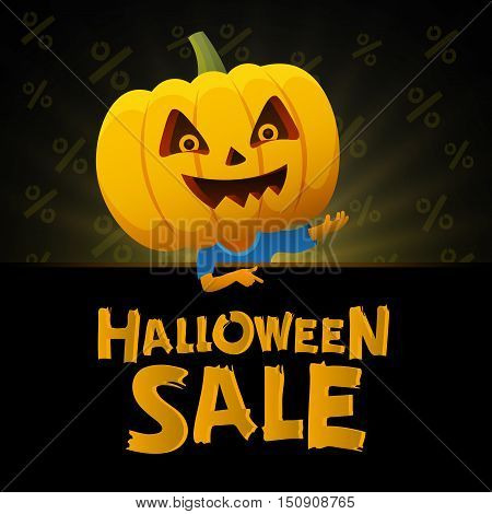 Halloween sale black background. Man with a pumpkin head vector flat illustration. Funny halloween personage.