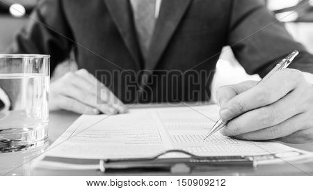 Businessman Hands Sign Contract Agreement Concept