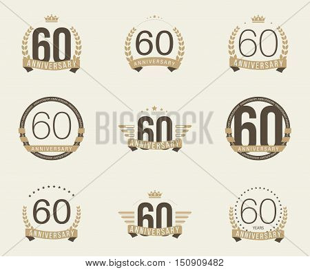Sixty years anniversary logotype with branches, ribbons, wings, crowns. 60th anniversary logo collection. Vector illustration.