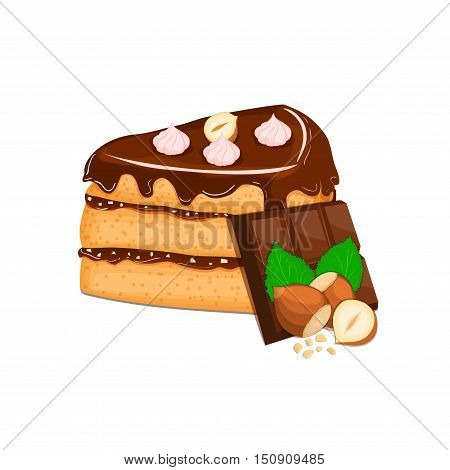 Piece of cake with nuts and chocolate bar. Vector sliced portion of sponge cake with creamy hazelnut layer, decorated with chocolate cream and crushed walnut on white background for menu design