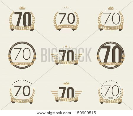 Seventy years anniversary logotype with branches, ribbons, wings, crowns. 70th anniversary logo collection. Vector illustration.
