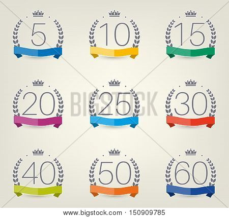 Vector set of anniversary signs, symbols. Five, ten, twenty, thirty, forty, fifty years jubilee design elements collection. Eps10 illustration.