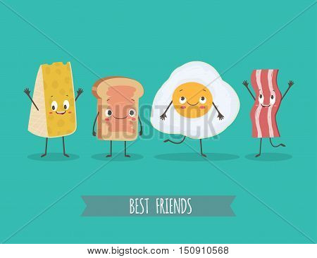 Cute characters cheese bread egg and bacon. Best friends set. Funny food. Cartoon vector illustration. Cute stylish characters