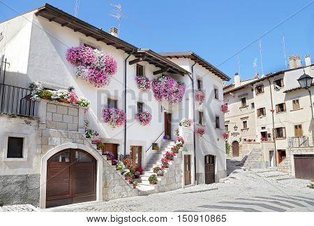 PESCOCOSTANZO ITALY - AUGUST 21 2016: Glimpses of the wonderful mountain village - about 1400 m above sea level - Pescocostanzo in the region of Abruzzo Italy